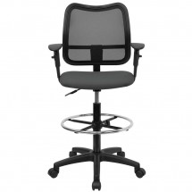 Flash Furniture WL-A277-GY-AD-GG Mid-Back Mesh Drafting Stool with Gray Fabric Seat and Arms addl-2