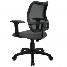 Flash Furniture WL-A277-GY-A-GG Mid-Back Mesh Task Chair with Gray Fabric Seat and Arms addl-1