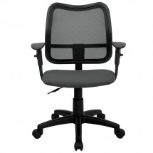 Flash Furniture WL-A277-GY-A-GG Mid-Back Mesh Task Chair with Gray Fabric Seat and Arms addl-2
