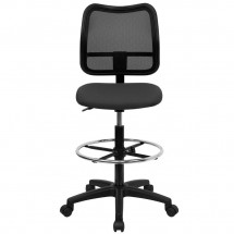 Flash Furniture WL-A277-GY-D-GG Mid-Back Mesh Drafting Stool with Gray Fabric Seat addl-2
