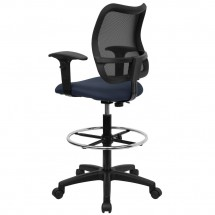 Flash Furniture WL-A277-NVY-AD-GG Mid-Back Mesh Drafting Stool with Navy Blue Fabric Seat and Arms addl-1