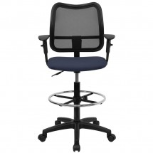 Flash Furniture WL-A277-NVY-AD-GG Mid-Back Mesh Drafting Stool with Navy Blue Fabric Seat and Arms addl-2