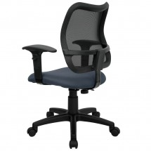Flash Furniture WL-A277-NVY-A-GG Mid-Back Mesh Task Chair with Navy Blue Fabric Seat and Arms addl-1