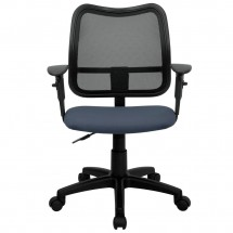 Flash Furniture WL-A277-NVY-A-GG Mid-Back Mesh Task Chair with Navy Blue Fabric Seat and Arms addl-2