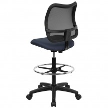 Flash Furniture WL-A277-NVY-D-GG Mid-Back Mesh Drafting Stool with Navy Blue Fabric Seat addl-1