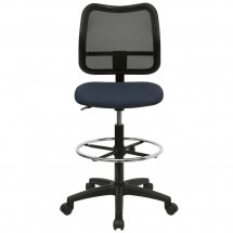 Flash Furniture WL-A277-NVY-D-GG Mid-Back Mesh Drafting Stool with Navy Blue Fabric Seat addl-2