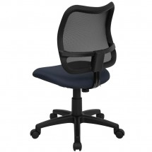Flash Furniture WL-A277-NVY-GG Mid-Back Mesh Task Chair with Navy Blue Fabric Seat addl-1