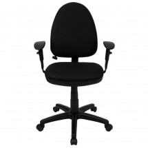 Flash Furniture WL-A654MG-BK-A-GG Mid-Back Black Fabric Multi-Functional Task Chair with Arms and Adjustable Lumbar Support addl-2