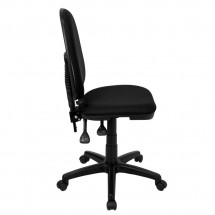 Flash Furniture WL-A654MG-BK-GG Mid-Back Black Fabric Multi-Functional Task Chair with Adjustable Lumbar Support addl-5