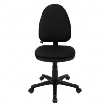 Flash Furniture WL-A654MG-BK-GG Mid-Back Black Fabric Multi-Functional Task Chair with Adjustable Lumbar Support addl-2