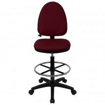 Flash Furniture WL-A654MG-BY-D-GG Mid-Back Burgundy Fabric Multi-Functional Drafting Stool with Adjustable Lumbar Support addl-1
