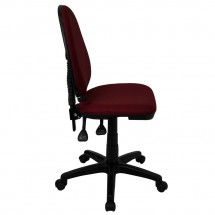 Flash Furniture WL-A654MG-BY-GG Mid-Back Burgundy Fabric Multi-Functional Task Chair with Adjustable Lumbar Support addl-4