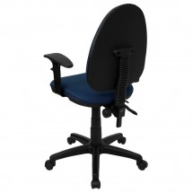 Flash Furniture WL-A654MG-NVY-A-GG Mid-Back Navy Blue Fabric Multi-Functional Task Chair with Arms and Adjustable Lumbar Support addl-1