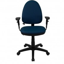 Flash Furniture WL-A654MG-NVY-A-GG Mid-Back Navy Blue Fabric Multi-Functional Task Chair with Arms and Adjustable Lumbar Support addl-2