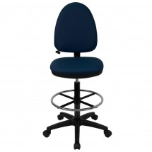 Flash Furniture WL-A654MG-NVY-D-GG Mid-Back Navy Blue Fabric Multi-Functional Drafting Stool with Adjustable Lumbar Support addl-1