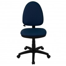 Flash Furniture WL-A654MG-NVY-GG Mid-Back Navy Blue Fabric Multi-Functional Task Chair with Adjustable Lumbar Support addl-1