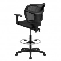 Flash Furniture WL-A7671SYG-BK-AD-GG Mid-Back Mesh Drafting Stool with Black Fabric Seat and Arms addl-1