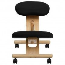 Flash Furniture WL-SB-210-GG Mobile Wooden Ergonomic Kneeling Chair in Black Fabric addl-3