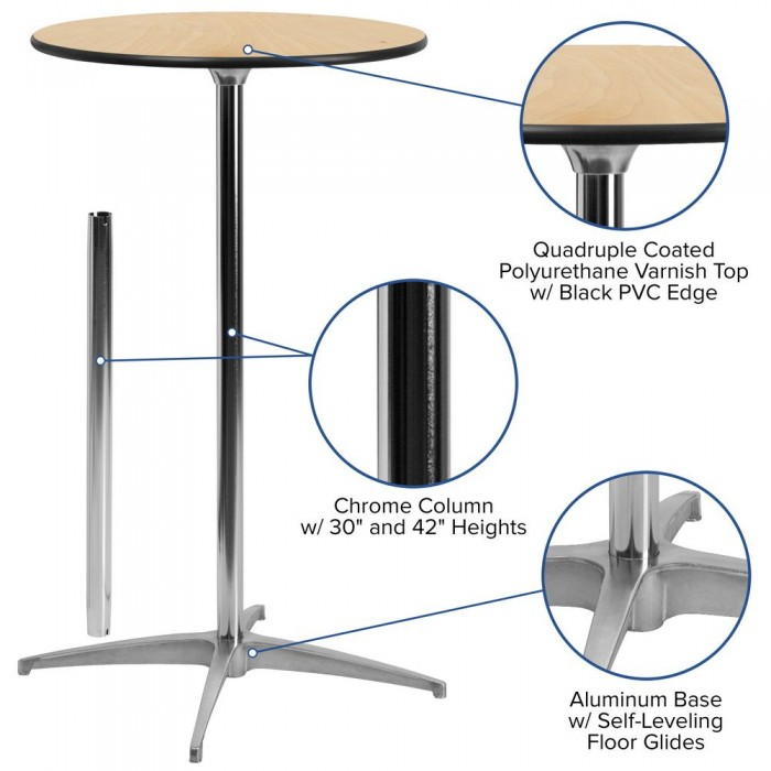 Flash Furniture XA 24 COTA GG 24 Round Wood Cocktail Table With 30