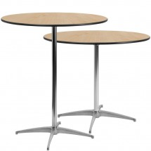 Flash Furniture XA-36-COTA-GG 36 Round Wood Cocktail Table with 30 and 42 Columns addl-2