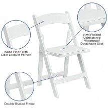 Flash Furniture XF-2901-WH-WOOD-GG HERCULES Series White Wood Folding Chair with Vinyl Padded Seat addl-5
