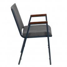 Flash Furniture XU-60154-GY-GG HERCULES Series Heavy Duty 3 Thick Padded Gray Upholstered Stack Chair with Arms addl-1