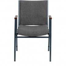 Flash Furniture XU-60154-GY-GG HERCULES Series Heavy Duty 3 Thick Padded Gray Upholstered Stack Chair with Arms addl-3