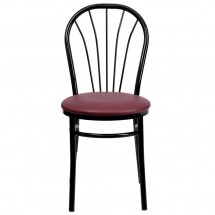 Flash Furniture XU-698B-BGV-GG HERCULES Series Fan Back Metal Chair - Burgundy Vinyl Seat addl-2