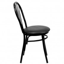 Flash Furniture XU-698B-BLKV-GG HERCULES Series Fan Back Metal Chair - Black Vinyl Seat addl-4