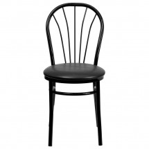 Flash Furniture XU-698B-BLKV-GG HERCULES Series Fan Back Metal Chair - Black Vinyl Seat addl-2