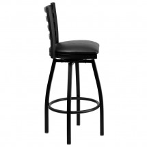 Flash Furniture XU-6F8B-LADSWVL-BLKV-GG HERCULES Series Black Ladder Back Swivel Metal Bar Stool - Black Vinyl Seat addl-1