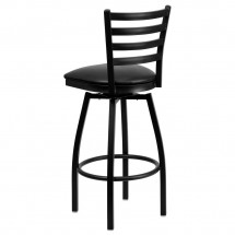 Flash Furniture XU-6F8B-LADSWVL-BLKV-GG HERCULES Series Black Ladder Back Swivel Metal Bar Stool - Black Vinyl Seat addl-2