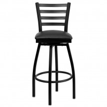 Flash Furniture XU-6F8B-LADSWVL-BLKV-GG HERCULES Series Black Ladder Back Swivel Metal Bar Stool - Black Vinyl Seat addl-3