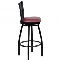 Flash Furniture XU-6F8B-LADSWVL-BURV-GG HERCULES Series Black Ladder Back Swivel Metal Bar Stool - Burgundy Vinyl Seat addl-1