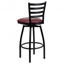 Flash Furniture XU-6F8B-LADSWVL-BURV-GG HERCULES Series Black Ladder Back Swivel Metal Bar Stool - Burgundy Vinyl Seat addl-2