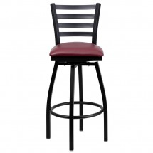 Flash Furniture XU-6F8B-LADSWVL-BURV-GG HERCULES Series Black Ladder Back Swivel Metal Bar Stool - Burgundy Vinyl Seat addl-3