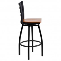 Flash Furniture XU-6F8B-LADSWVL-CHYW-GG HERCULES Series Black Ladder Back Swivel Metal Bar Stool - Cherry Wood Seat addl-1