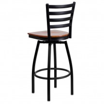 Flash Furniture XU-6F8B-LADSWVL-CHYW-GG HERCULES Series Black Ladder Back Swivel Metal Bar Stool - Cherry Wood Seat addl-2