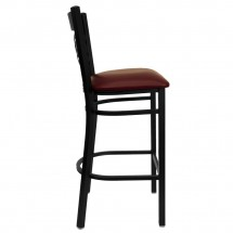 Flash Furniture XU-6F8BXBK-BAR-BURV-GG HERCULES Black X Back Metal Restaurant Barstool - Burgundy Vinyl Seat addl-4