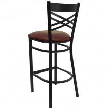Flash Furniture XU-6F8BXBK-BAR-BURV-GG HERCULES Black X Back Metal Restaurant Barstool - Burgundy Vinyl Seat addl-1