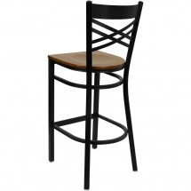 Flash Furniture XU-6F8BXBK-BAR-CHYW-GG HERCULES Black X Back Metal Restaurant Barstool - Cherry Wood Seat addl-1