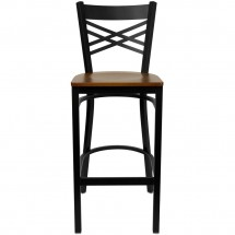 Flash Furniture XU-6F8BXBK-BAR-CHYW-GG HERCULES Black X Back Metal Restaurant Barstool - Cherry Wood Seat addl-2