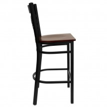 Flash Furniture XU-6F8BXBK-BAR-MAHW-GG HERCULES Black X Back Metal Restaurant Barstool - Mahogany Wood Seat addl-4
