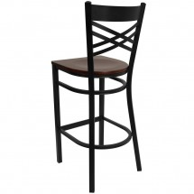 Flash Furniture XU-6F8BXBK-BAR-MAHW-GG HERCULES Black X Back Metal Restaurant Barstool - Mahogany Wood Seat addl-1