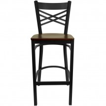 Flash Furniture XU-6F8BXBK-BAR-MAHW-GG HERCULES Black X Back Metal Restaurant Barstool - Mahogany Wood Seat addl-2