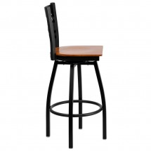 Flash Furniture XU-6F8B-XSWVL-CHYW-GG HERCULES Black X Back Swivel Metal Barstool - Cherry Wood Seat addl-1