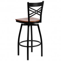 Flash Furniture XU-6F8B-XSWVL-CHYW-GG HERCULES Black X Back Swivel Metal Barstool - Cherry Wood Seat addl-2
