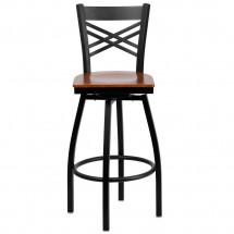 Flash Furniture XU-6F8B-XSWVL-CHYW-GG HERCULES Black X Back Swivel Metal Barstool - Cherry Wood Seat addl-3