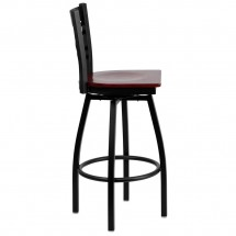 Flash Furniture XU-6F8B-XSWVL-MAHW-GG HERCULES Black X Back Swivel Metal Barstool - Mahogany Wood Seat addl-1