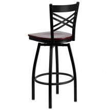 Flash Furniture XU-6F8B-XSWVL-MAHW-GG HERCULES Black X Back Swivel Metal Barstool - Mahogany Wood Seat addl-2